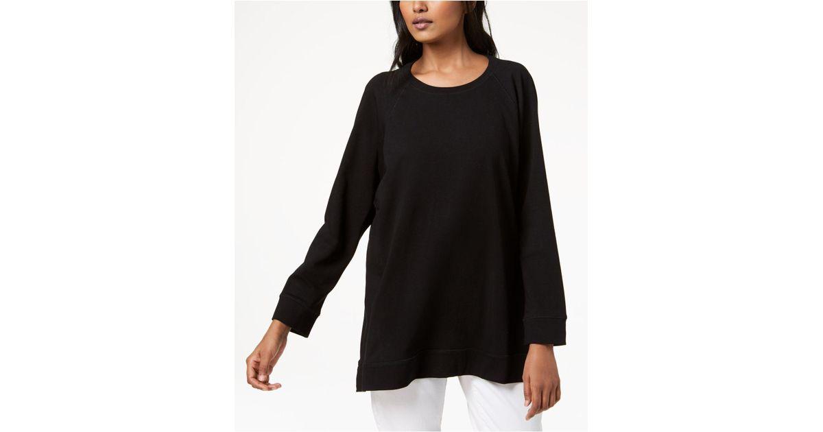 00340b0e84f Lyst - Eileen Fisher Organic Cotton Cozy Long-sleeve Tunic in Black