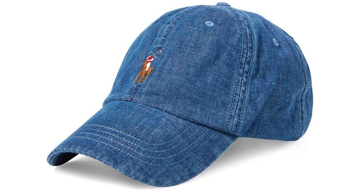 cc25b4feb50 Lyst - Polo Ralph Lauren Cotton Denim Sports Cap in Blue for Men
