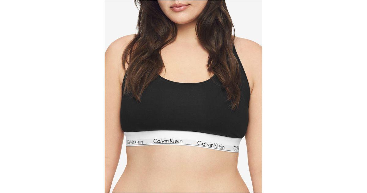 4208a7d1bb0 Calvin Klein Plus Size Modern Cotton Unlined Bralette Qf5116 in Black - Lyst