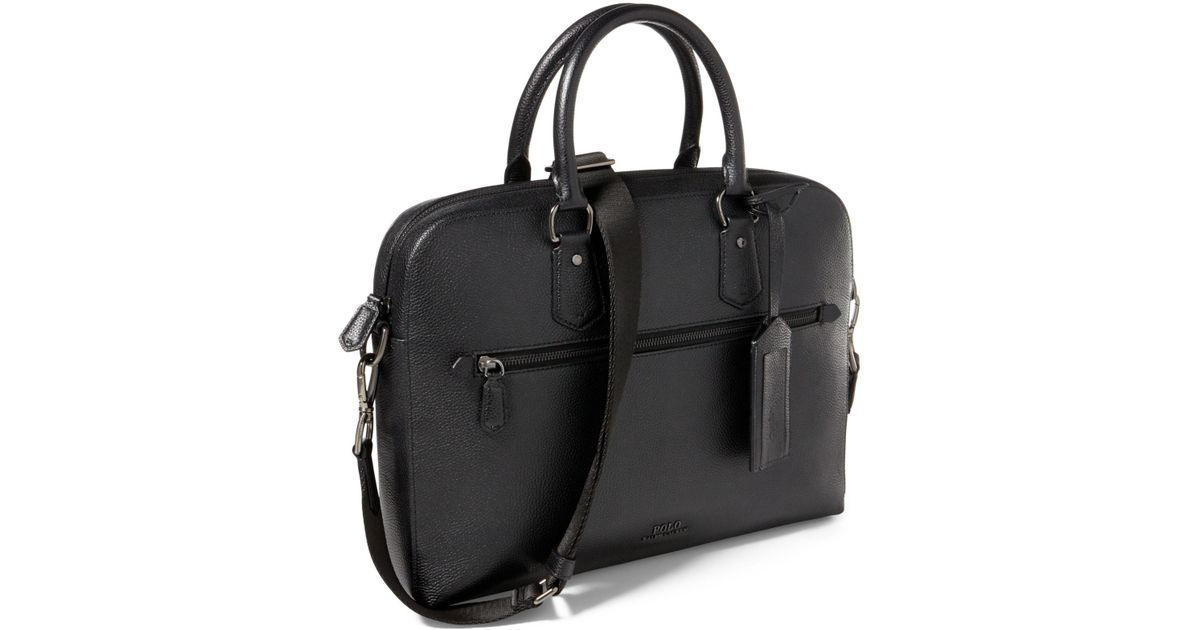 6c1a1d6b6401 Lyst - Polo Ralph Lauren Pebbled Leather Briefcase in Black for Men