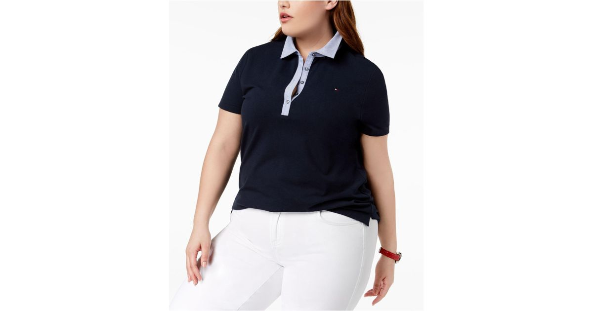 ef041dba6410a Lyst - Tommy Hilfiger Plus Size Chambray-collar Polo Top