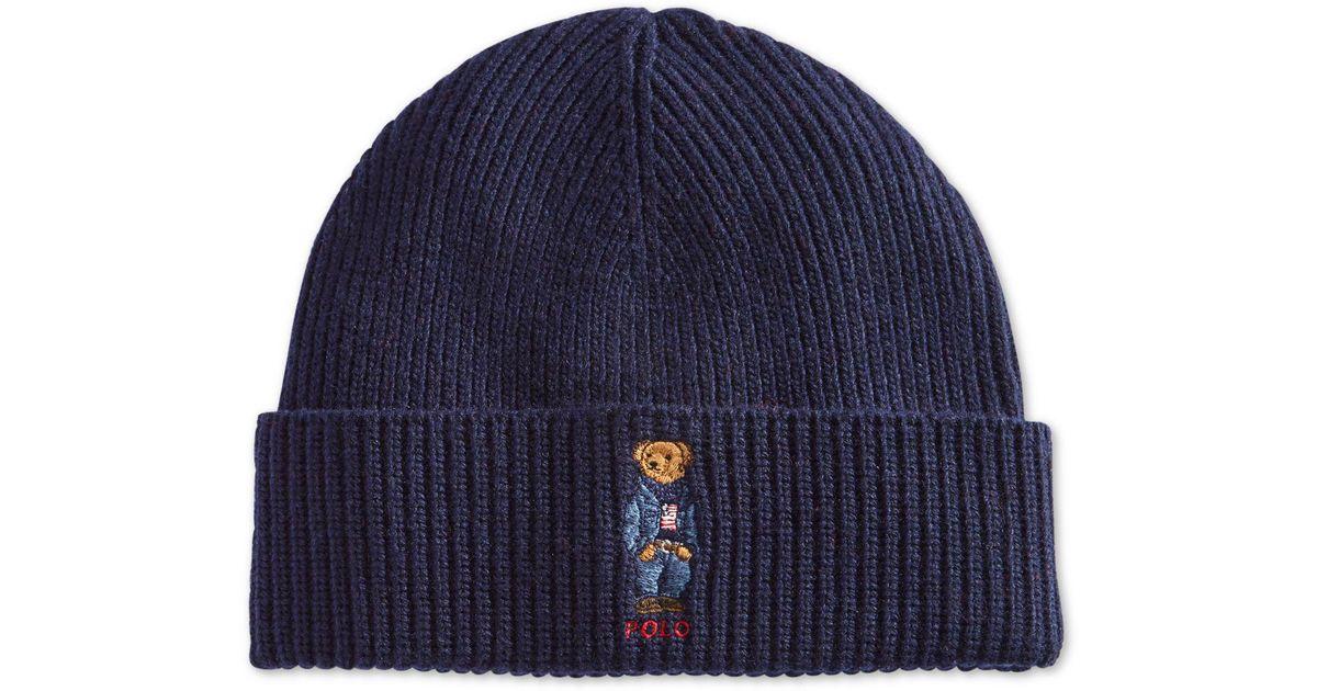 e07fd72a1781f Polo Ralph Lauren Polo Bear Blue Jean Jacket Cuffed Hat in Blue for Men -  Lyst