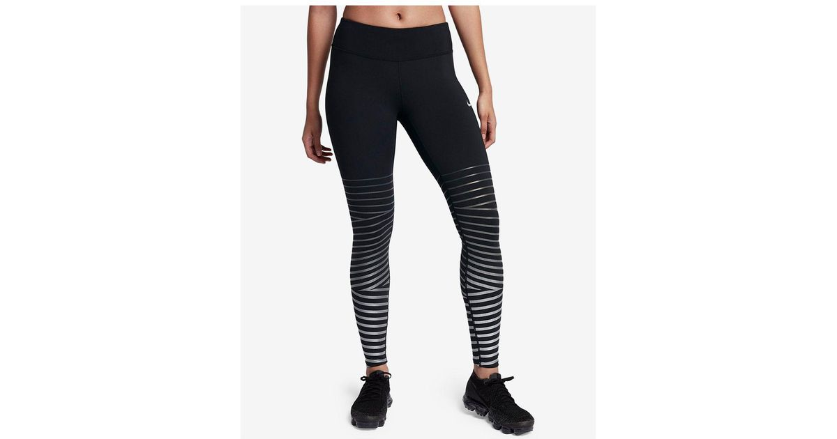 00eb1373e0a671 Nike Power Epic Lux Flash Striped Running Leggings in Black - Lyst