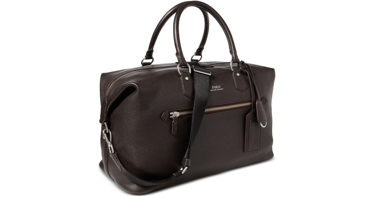 1142ac8d3361 ... new arrivals lyst polo ralph lauren mens pebbled leather duffel bag in  brown for men 2cec1