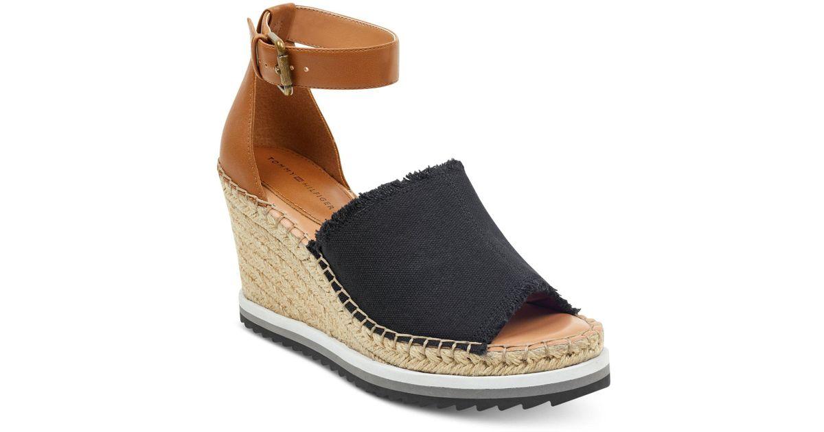 0300bf252819 Lyst - Tommy Hilfiger Yavino Espadrille Platform Wedge Sandals in Black