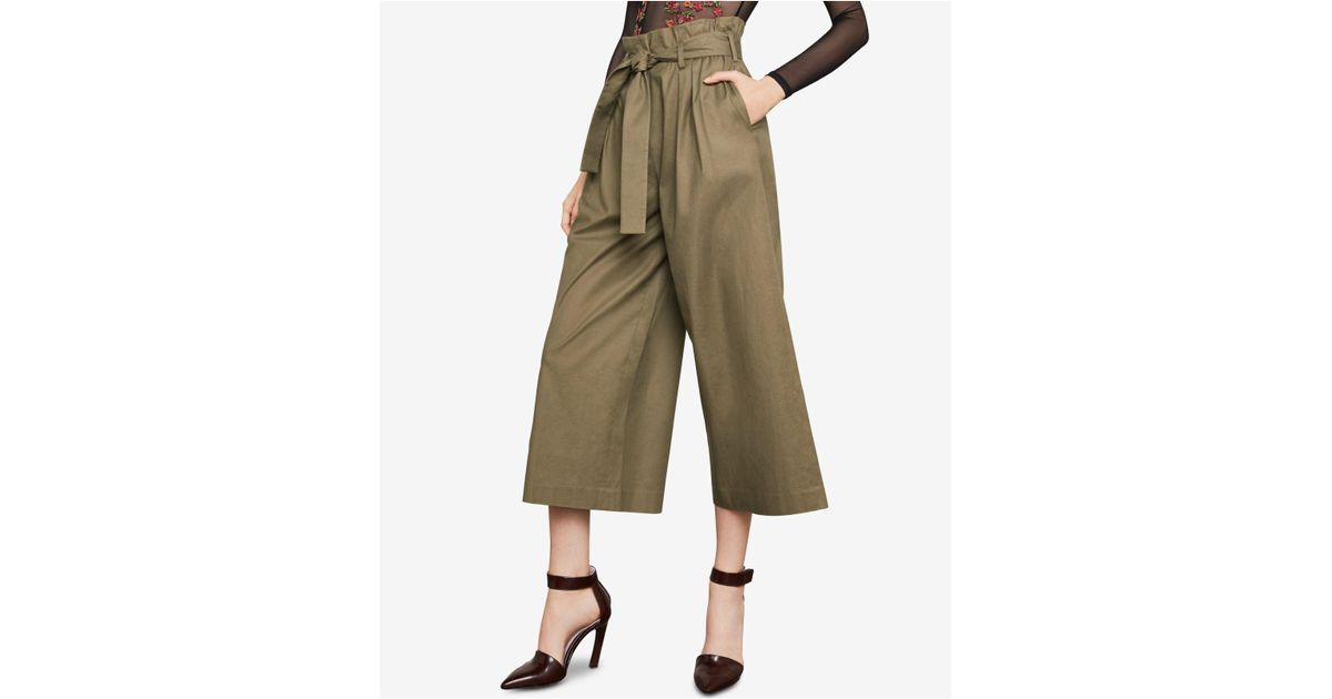 87f7104421d104 BCBGMAXAZRIA Isaac Cropped Paperbag Pants in Green - Lyst