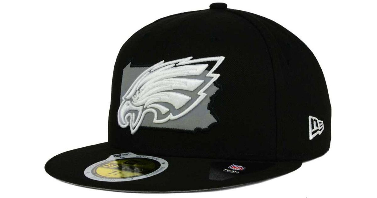 new product 5179c afa70 ... where to buy lyst ktz philadelphia eagles state flective redux 59fifty  cap in black for men