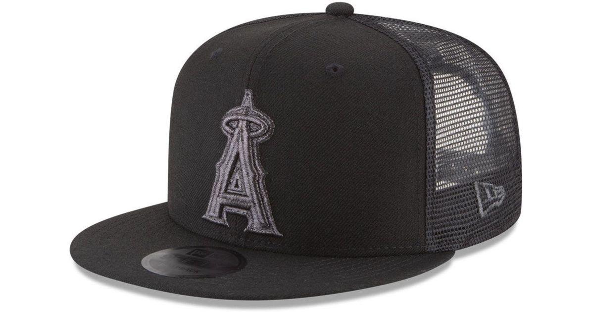 san francisco fa695 43986 KTZ Los Angeles Angels Blackout Mesh 9fifty Snapback Cap in Black for Men -  Lyst