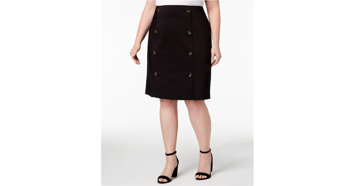 6367f8317785 Lyst - Calvin Klein Plus Size Button-front Pencil Skirt in Black
