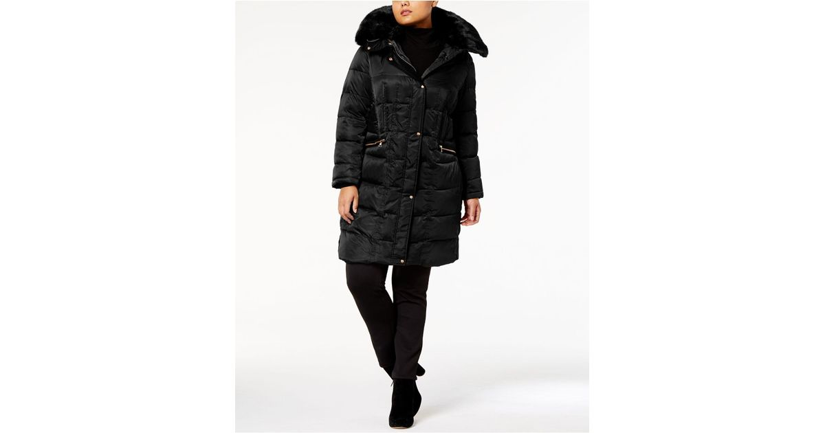 44a04daa33a Lyst - Vince Camuto Plus Size Faux-fur-trim Zip-pocket Puffer Coat in Black