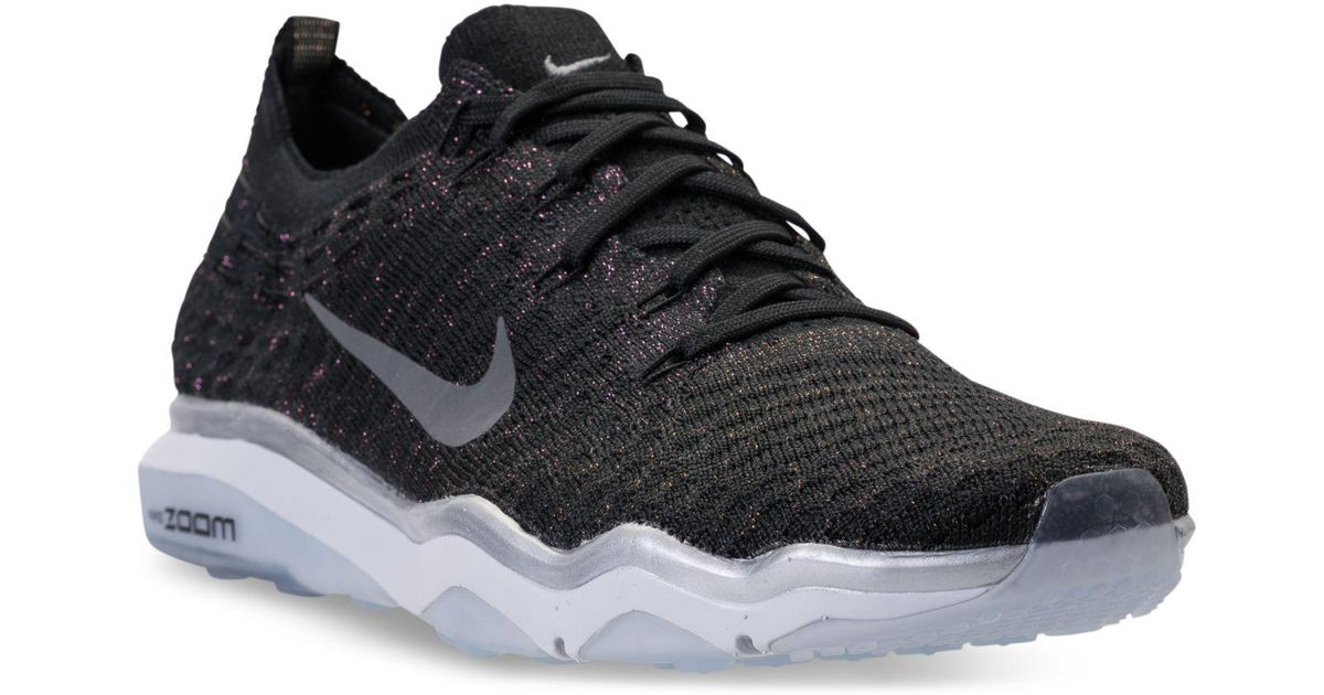 1eab00c7cd4 Lyst - Nike Women s Air Zoom Fearless Flyknit Metallic Running Sneakers  From Finish Line in Black