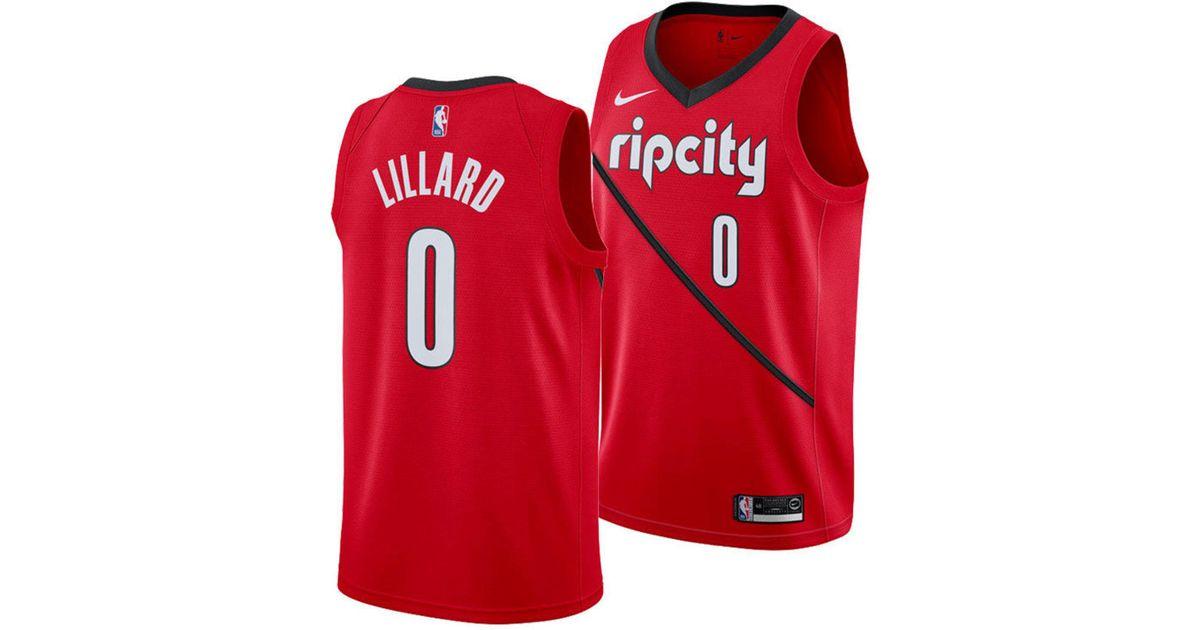 b3633d495 Nike Damian Lillard Portland Trail Blazers Earned Edition Swingman Jersey  in Red for Men - Lyst