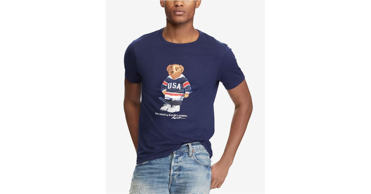 a5f2001e2d827 Lyst - Polo Ralph Lauren Men s Custom Slim Fit Polo Bear T-shirt in Blue  for Men
