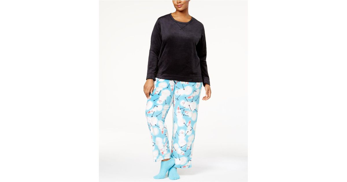 6aad4ae28d3cf9 Lyst - Hue Plus Size Sueded Fleece Top & Printed Pants With Socks Pajama  Set in Black
