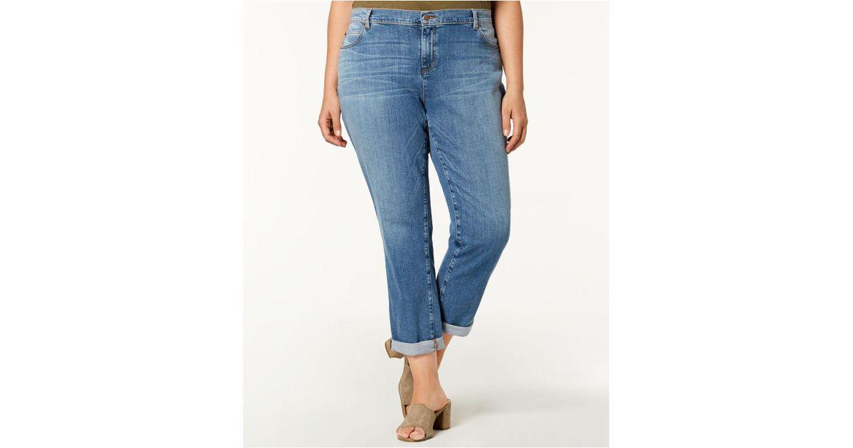 ba7505497babd Lyst - Eileen Fisher Plus Size Organic Cuffed Boyfriend Jeans in Blue