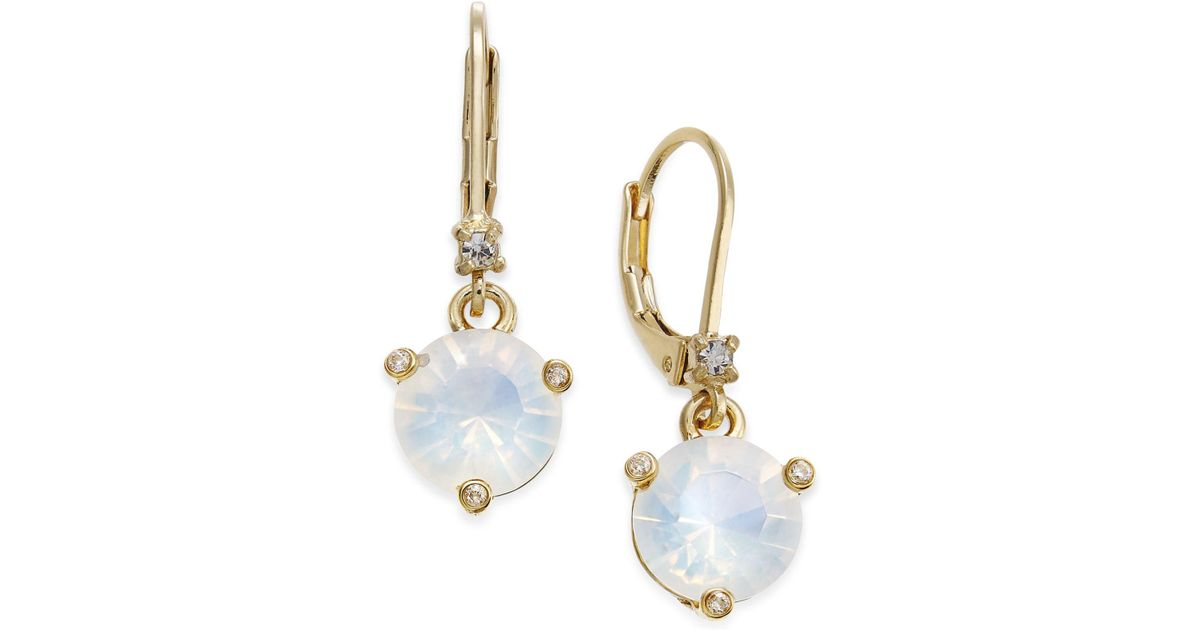 Lyst Kate Spade Gold Tone Pavé Pink Cubic Zirconia Drop Earrings In White