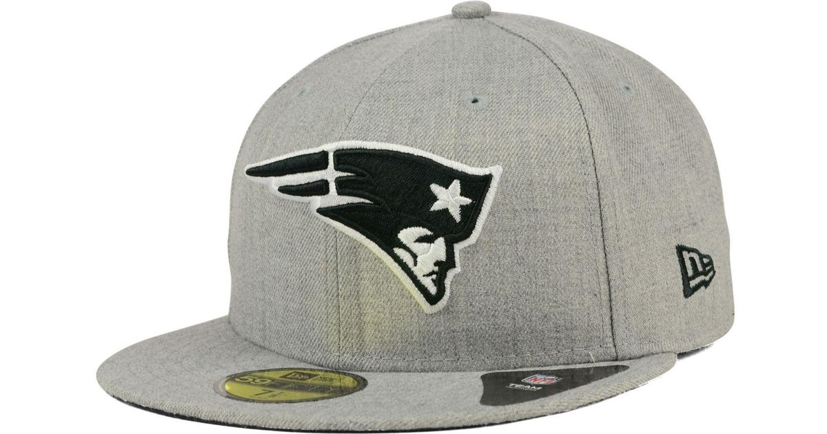 6118fd88d83 Lyst - KTZ New England Patriots Heather Black White 59fifty Cap in Gray for  Men