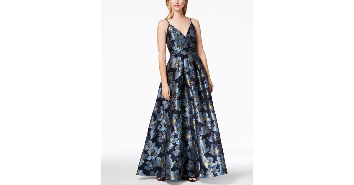 e5ce0ee7590 Calvin Klein - Blue Floral-print Embroidered Ballgown - Lyst