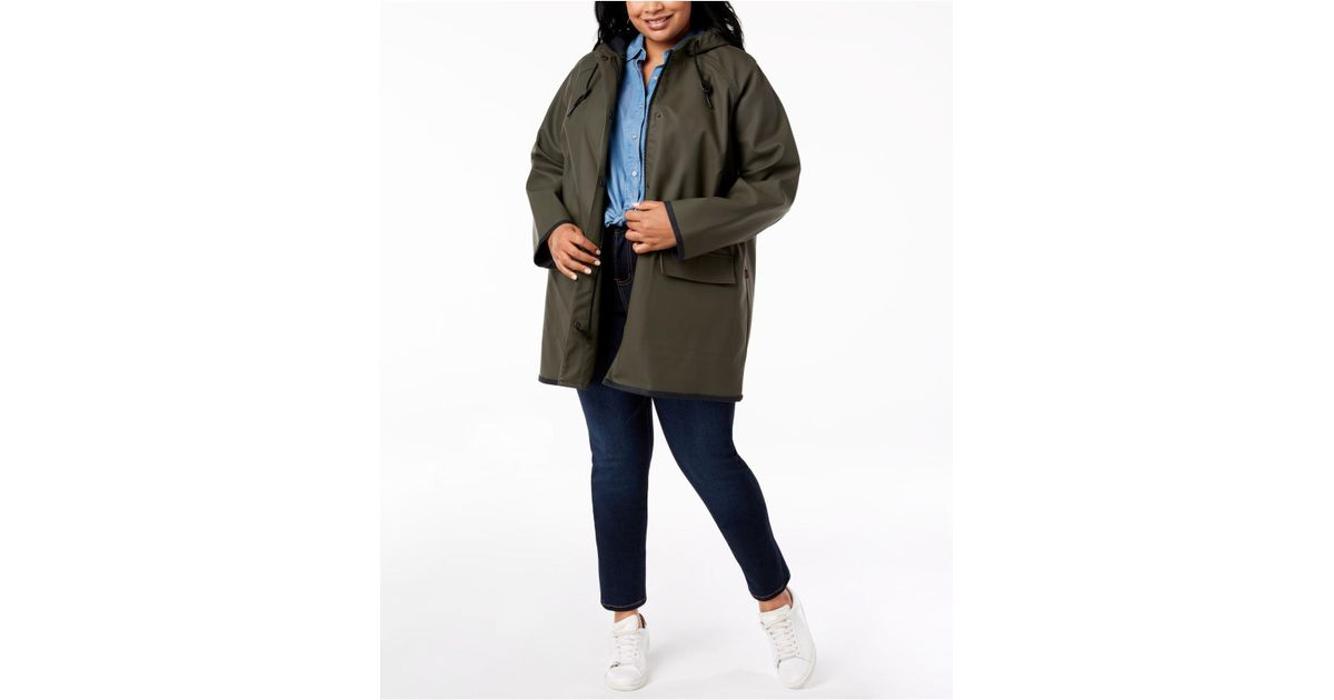 6a70d93bbc6 Lyst - Levi s ® Plus Size Hooded Rain Jacket in Green