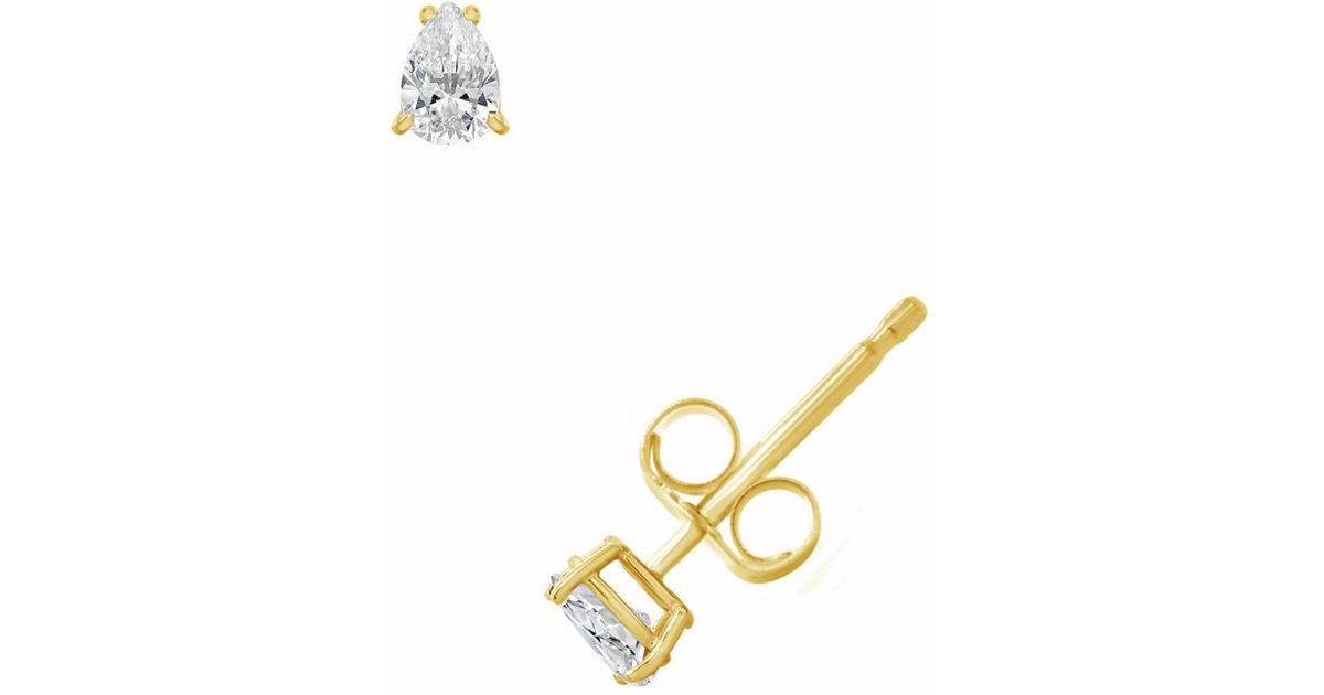 5d99a8c8b Macy's Certified Pear Shape Diamond Stud Earrings (1/4 Ct. T.w.) In 14k  White Gold Or Yellow Gold in Yellow - Lyst
