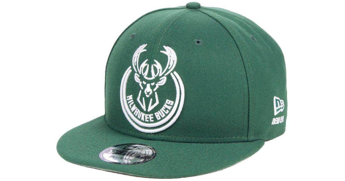 best service df39d d9a13 Lyst - KTZ Milwaukee Bucks Logo Trace 9fifty Snapback Cap in Green for Men