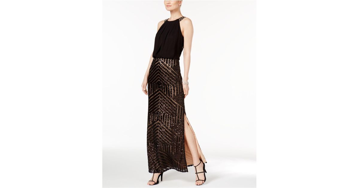 a08641d3 Vince Camuto Geo-sequined Blouson Gown in Black - Lyst