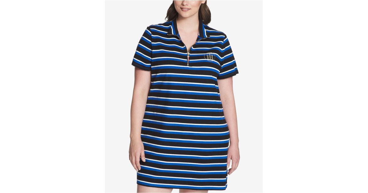 Lyst Tommy Hilfiger Plus Size Striped Piqu Polo Dress In Blue