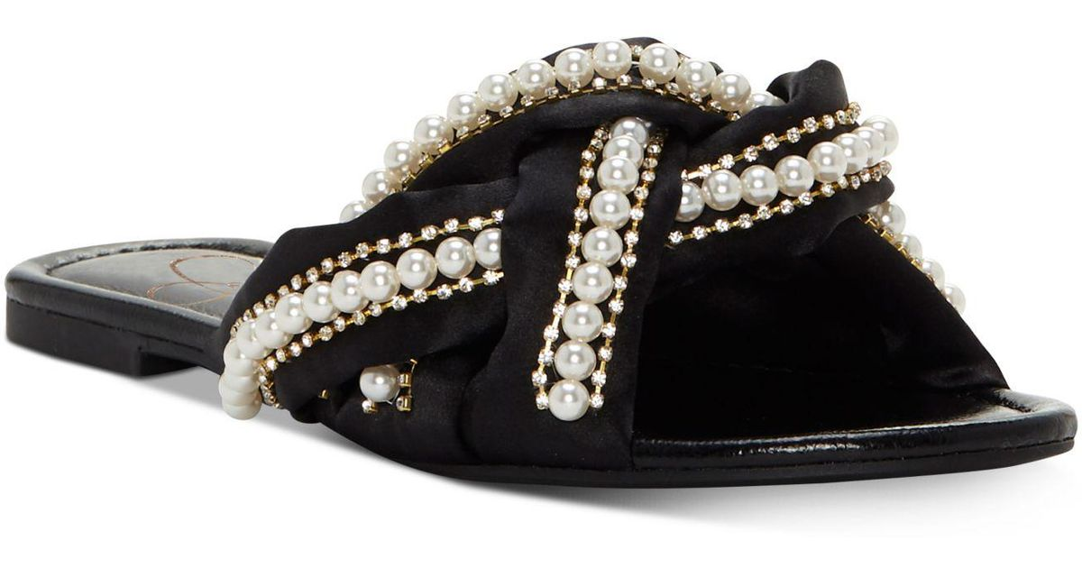 9de0d3eac69 Lyst - Jessica Simpson Rhondalin Braided Flat Sandals in Black