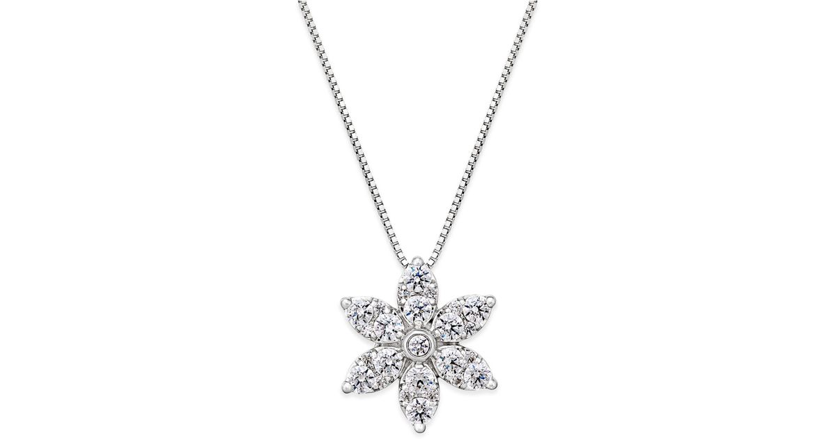 Lyst macys diamond starburst pendant necklace 1 ct tw in 14k lyst macys diamond starburst pendant necklace 1 ct tw in 14k white gold in metallic aloadofball Image collections