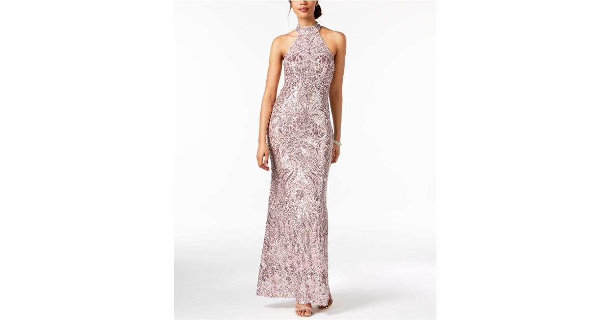 Lyst - Betsy & Adam Placed-sequins Halter Gown in Pink