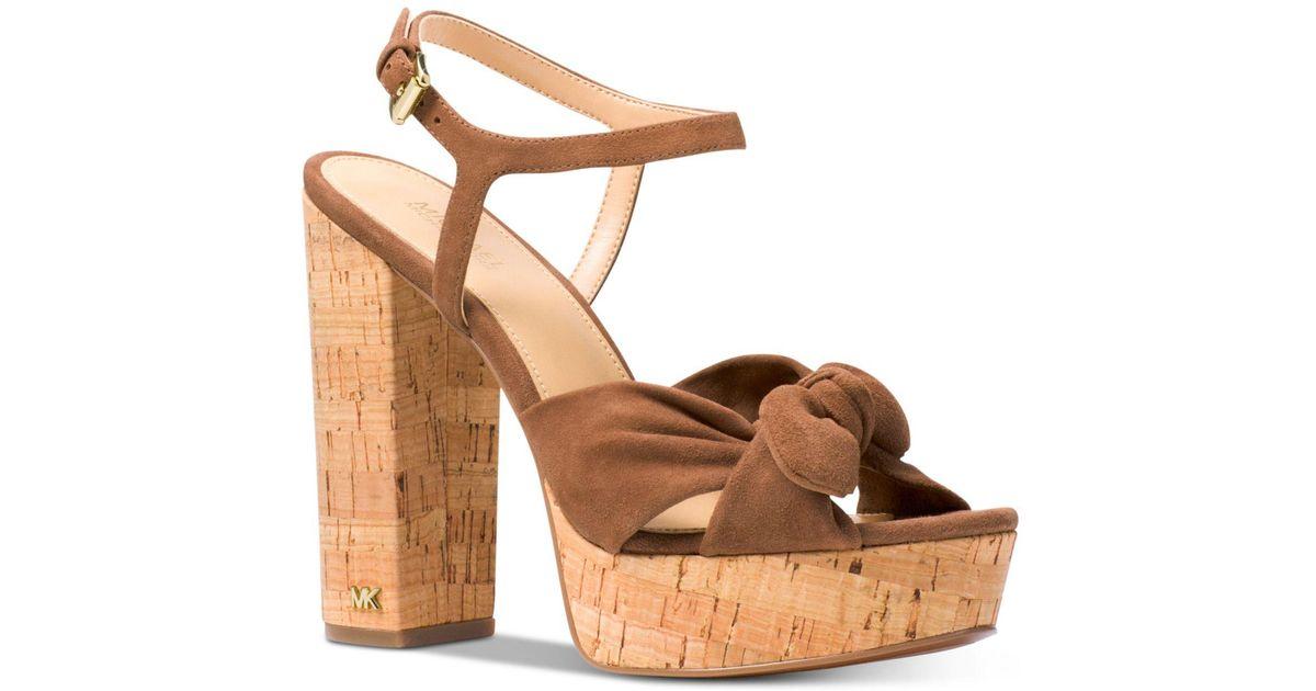 a81d2774529 Michael Kors Michael Pippa Platform Dress Sandals in Brown - Lyst