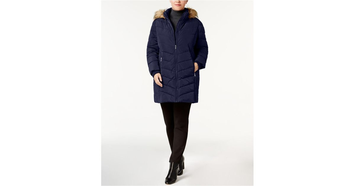 2cde4321f Tommy Hilfiger - Blue Plus Size Faux-fur-trim Chevron-quilted Puffer Coat -  Lyst