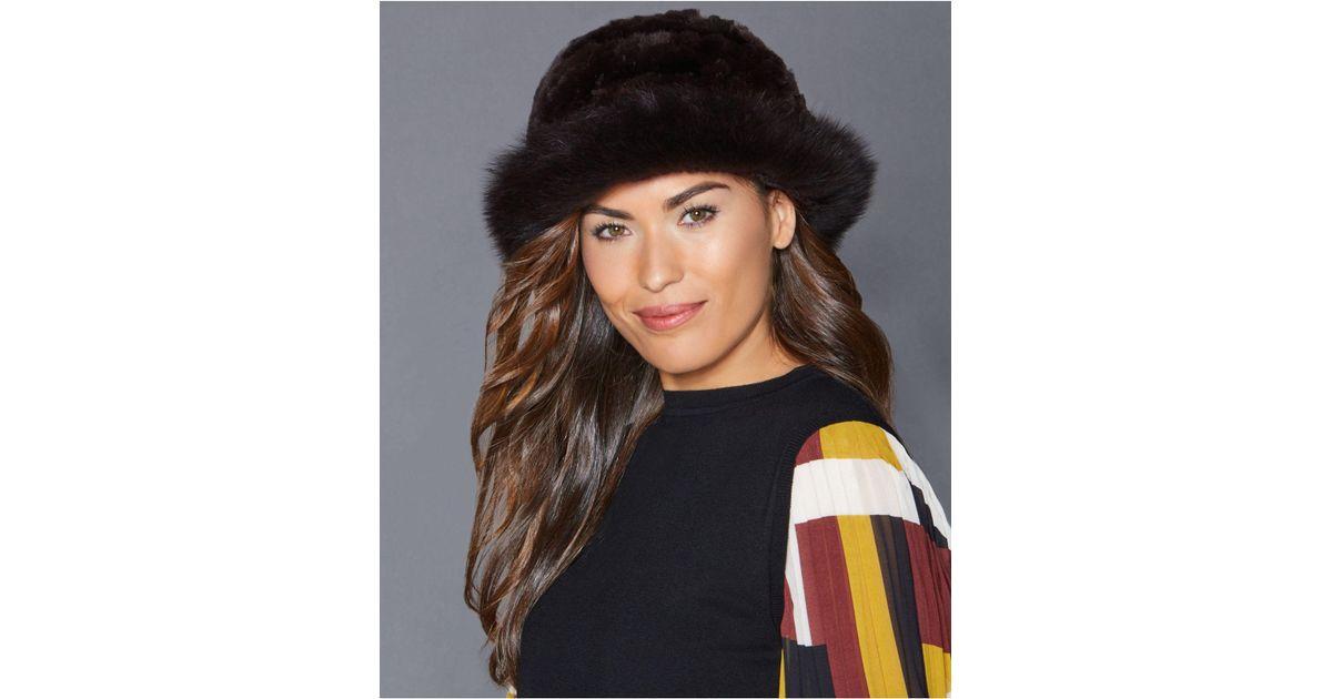 64b829f1105 Lyst - The Fur Vault Fox-trim Rabbit Fur Hat in Brown