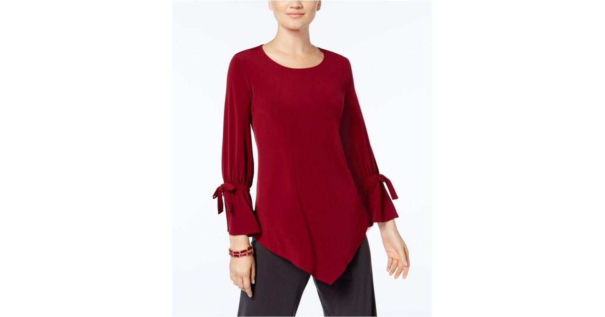 23e342fa5ed05 Lyst - Alfani Plus Size Ruffled-sleeve Pointed-hem Blouse in Red
