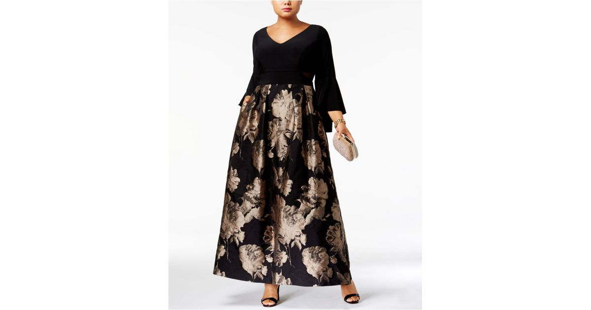 Lyst Xscape Plus Size Brocade Bell Sleeve Gown In Black