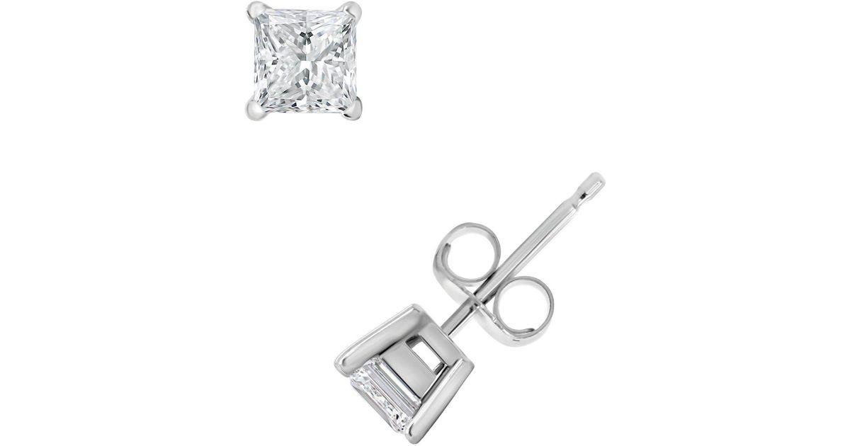 f105b6e2646 Lyst - Macy s Certified Princess Cut Diamond Stud Earrings (1 Ct. T.w.) In 14k  White Gold Or Yellow Gold in White