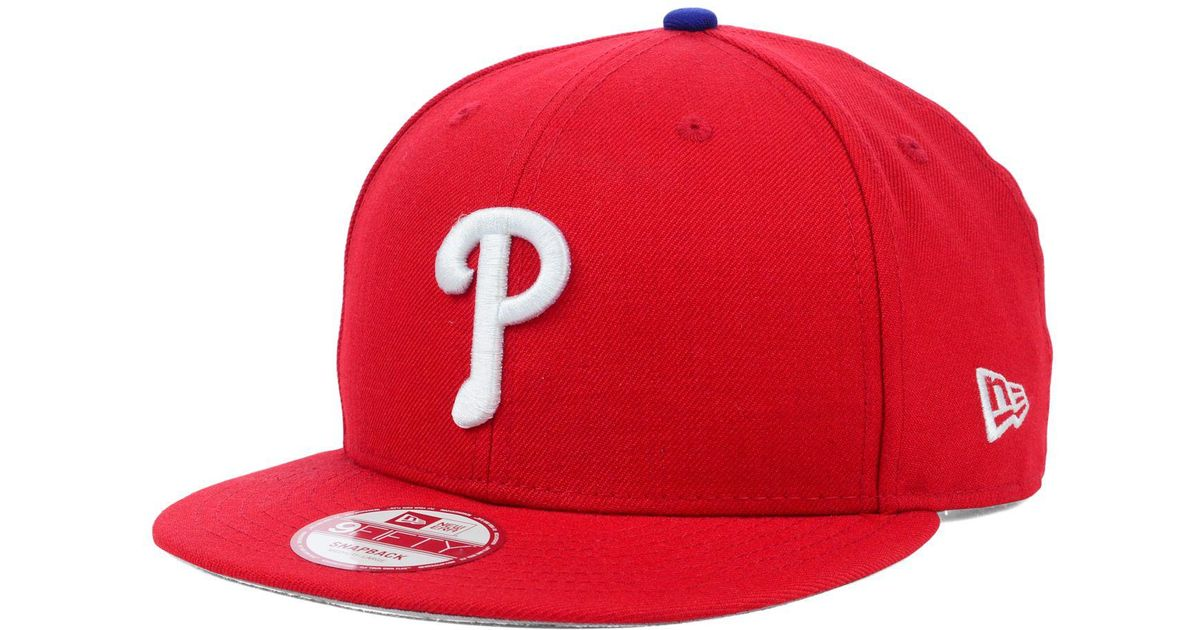 best sneakers a8a76 7a517 ... spain lyst ktz philadelphia phillies mlb 2 tone link 9fifty snapback cap  in red for men ...