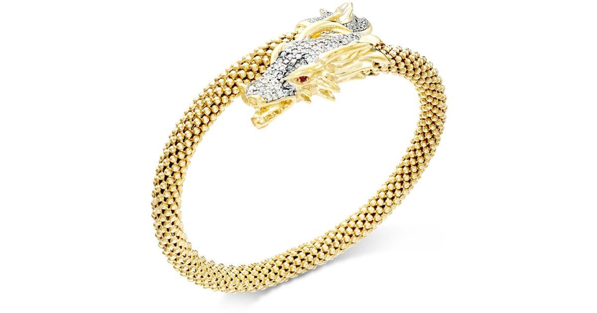 Macy s Diamond Dragon Bypass Bracelet 1 Ct T w In 14k Gold