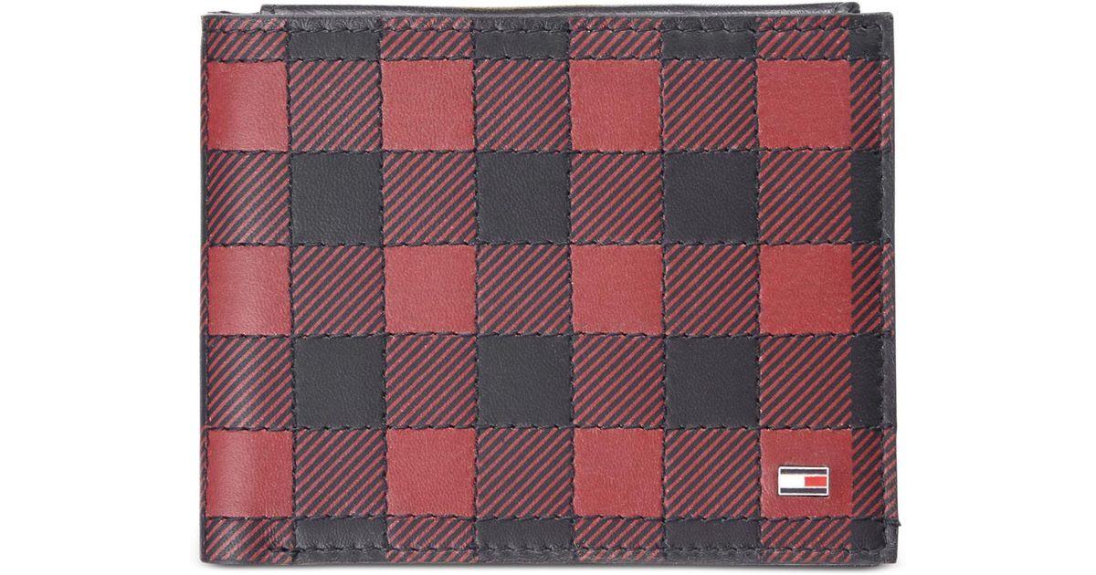 3f977822122 Tommy Hilfiger Men's Plaid Leather Wallet for Men - Lyst