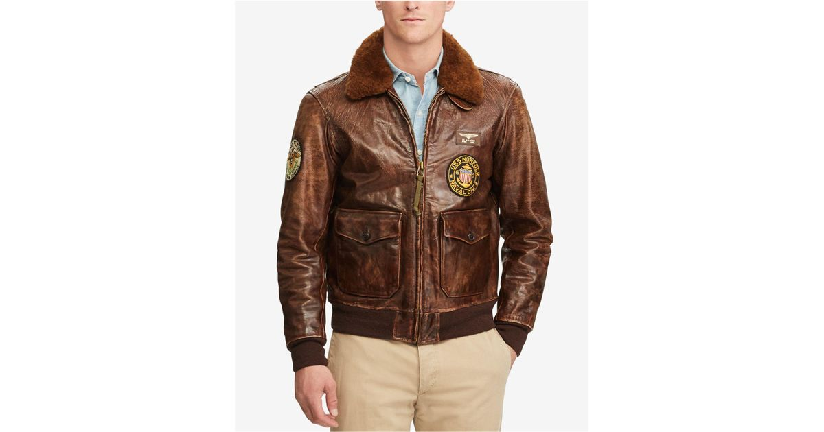 39880b9d76f Lyst - Polo Ralph Lauren Leather Jacket in Brown for Men