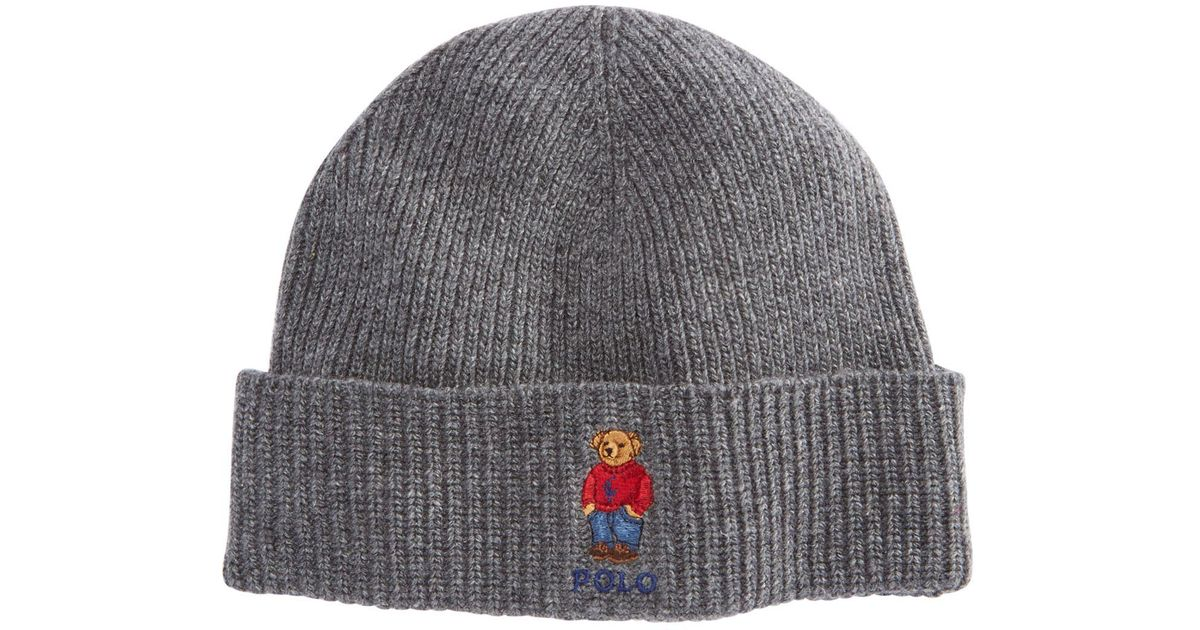 ae63912af89f9 Polo Ralph Lauren Polo Bear Cuffed Hat in Gray for Men - Lyst