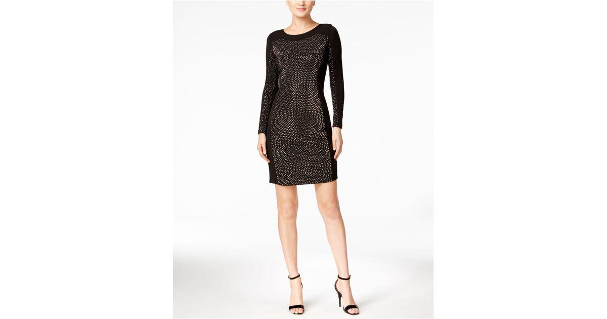 3ab898f9 Lyst - Calvin Klein Studded Bodycon Dress in Black