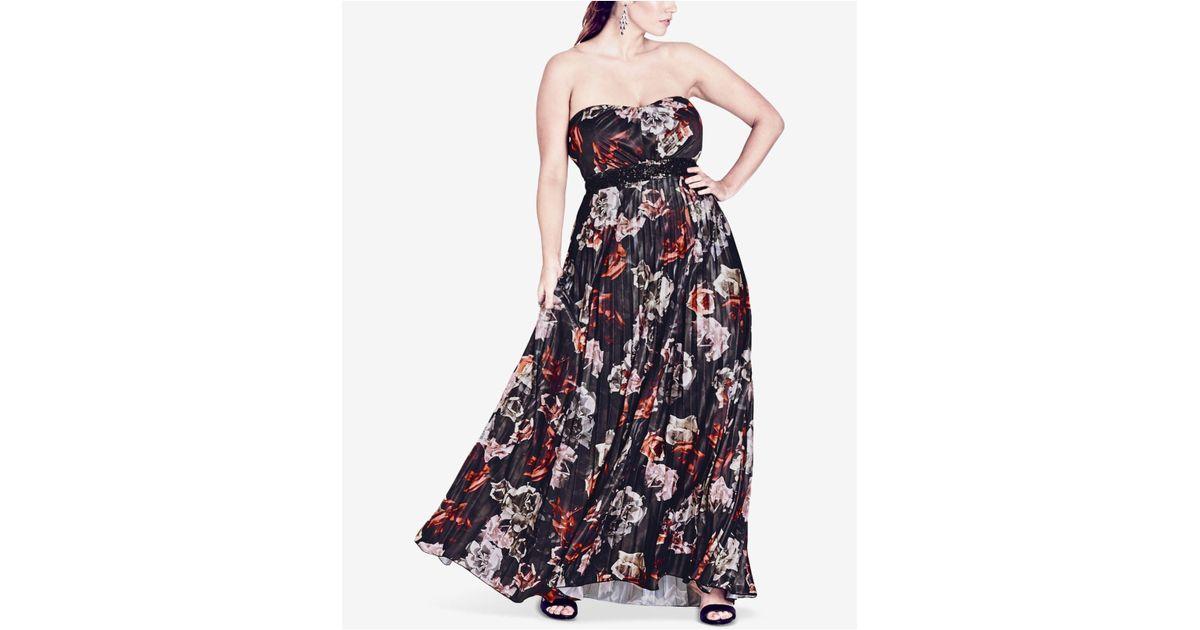 341c82fb2d1 Lyst - City Chic Trendy Plus Size Strapless Floral-print Maxi Dress in Blue