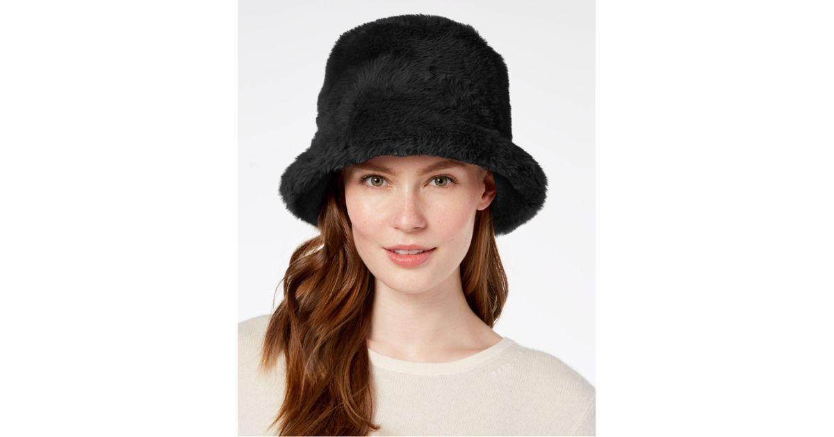 a78949e15f1 Lyst - Steve Madden Solid Faux-fur Bucket Hat in Black