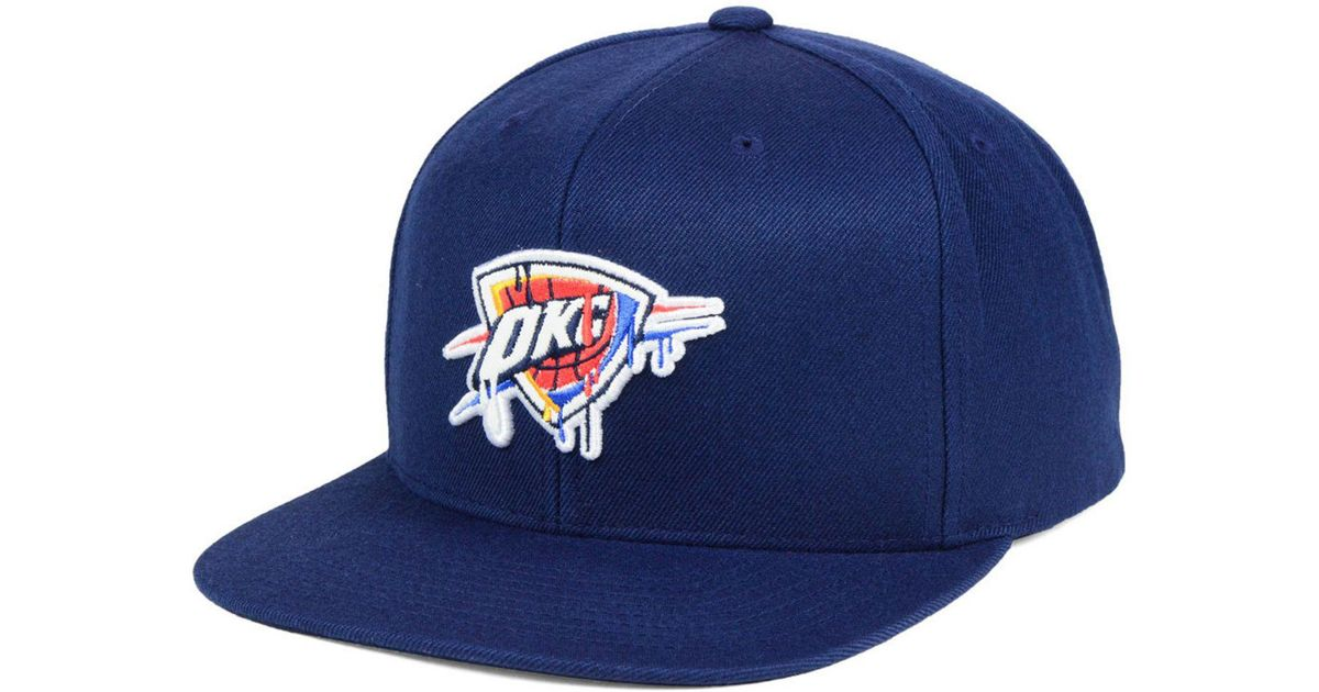 newest 22e6e 002ae Mitchell   Ness Oklahoma City Thunder Dripped Snapback Cap in Blue for Men  - Lyst