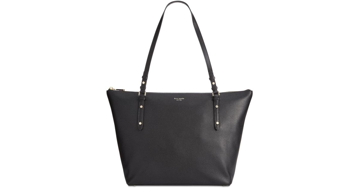 27137e237b Kate Spade Polly Pebble Leather Tote in Black - Lyst