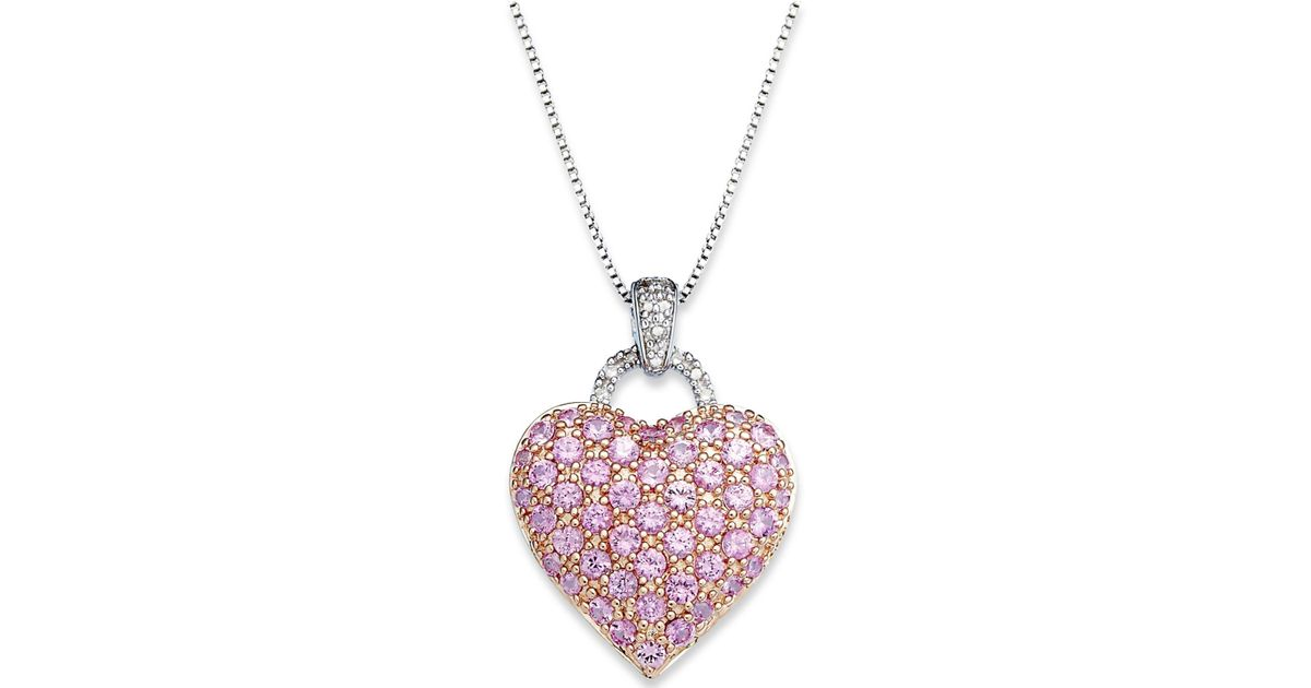 Lyst macys pink sapphire 2 14 ct tw and diamond accent lyst macys pink sapphire 2 14 ct tw and diamond accent heart pendant necklace in sterling silver in pink save 28 aloadofball Gallery