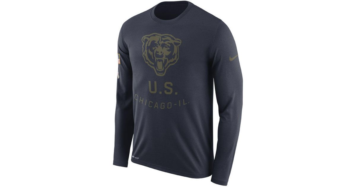 4cdd213dc Lyst - Nike Chicago Bears Salute To Service Legend Long Sleeve T-shirt in  Blue for Men