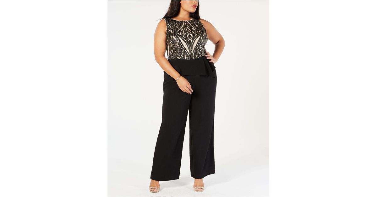 f49cf304276d Lyst - Adrianna Papell Plus Size Sequined Peplum Jumpsuit in Black