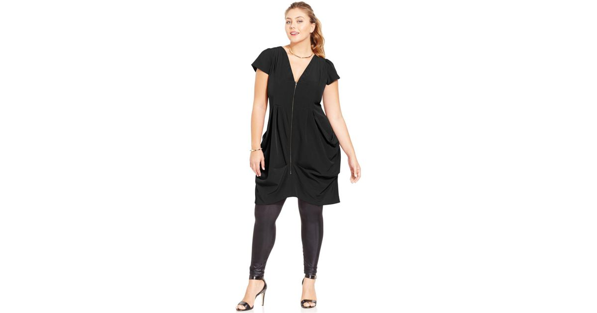 Lyst City Chic Trendy Plus Size Zip Front Tunic Dress In Black